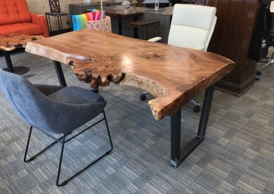 Live Edge Magnolia Table on Custom Metal Trapezoid Base