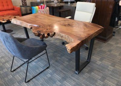 Live Edge Magnolia Table on Custom Metal Trapezoid Base