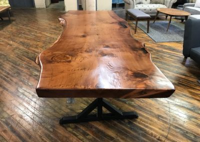 Live Edge Redwood Table on Custom Metal T-Leg Base 2